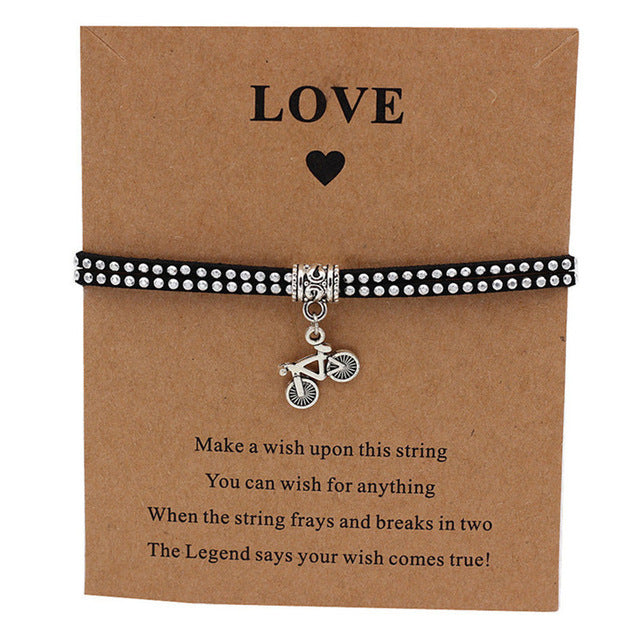 Bicycle Charm Wish Bracelet Black with Silver Strap