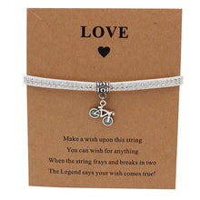 Load image into Gallery viewer, Bicycle Charm Wish Bracelet in Silver