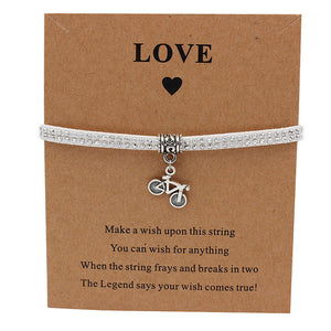 Bicycle Charm Wish Bracelet in Silver