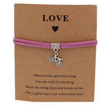 "Load image into Gallery viewer, Bicycle Charm ""Wish"" Bracelet"