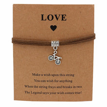 Load image into Gallery viewer, Bicycle Charm Wish Bracelet Brown Strap