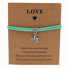 Load image into Gallery viewer, Bicycle Charm Wish Bracelet Green Strap