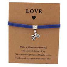 Load image into Gallery viewer, Bicycle Charm Wish Bracelet Blue Strap