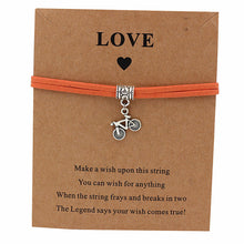 Load image into Gallery viewer, Bicycle Charm Wish Bracelet Orange Leather