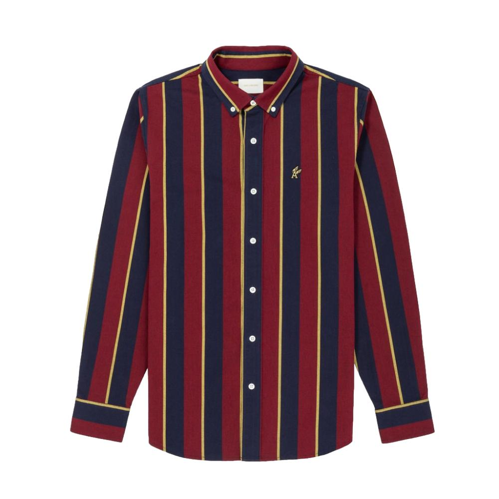 Aime Leon Dore Vertical Stripe Oxford Si - Red