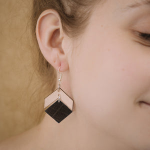 Leather Chevron with Squared Bottom Earring
