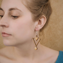 Load image into Gallery viewer, Wooden Triangles Earrings