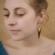 Load image into Gallery viewer, Wooden Duotone Diamond Earrings