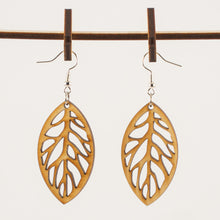 Load image into Gallery viewer, Leaf Cut Wooden Earrings