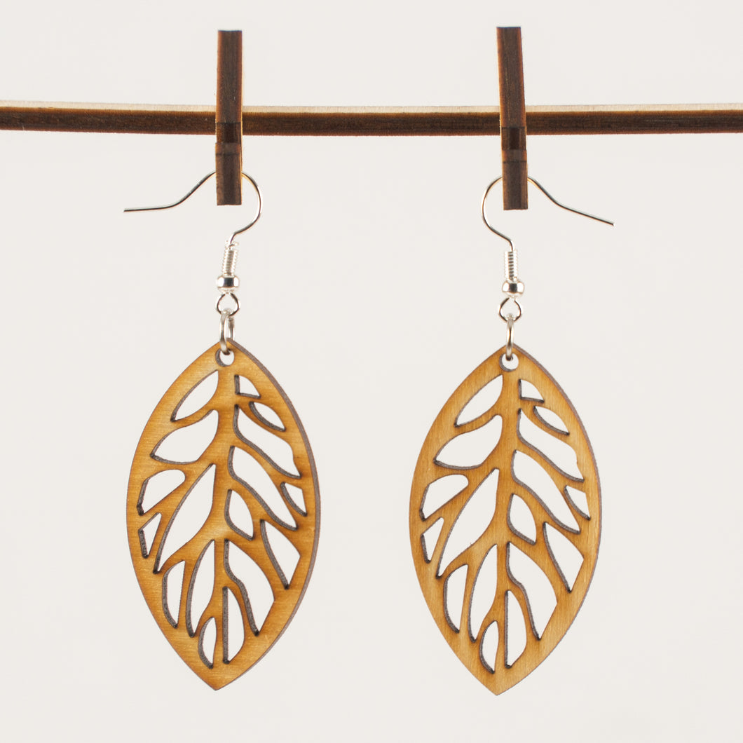 Leaf Cut Wooden Earrings