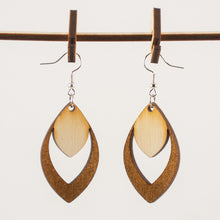 Load image into Gallery viewer, Duotone Engraved Wooden Earrings