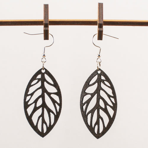 Leafy Leather Earrings