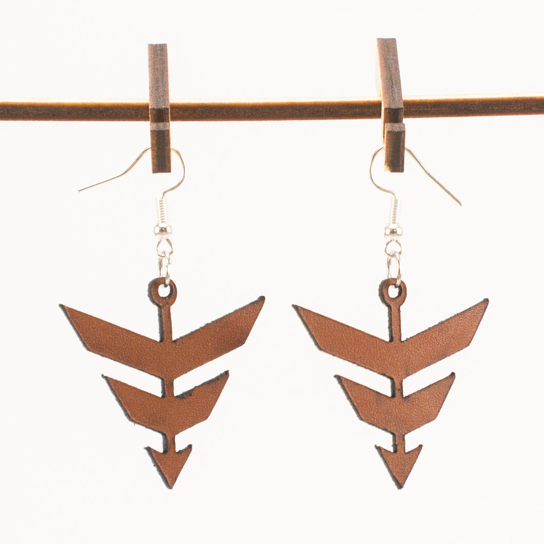 Leather Arrowhead Earrings