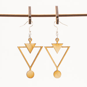 Wooden Triangles Earrings