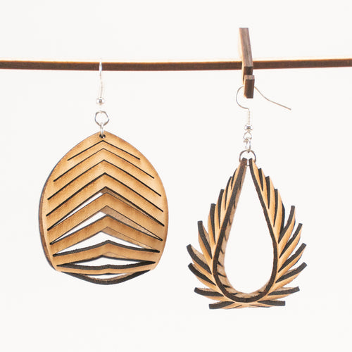 Leather Nautilus Earrings