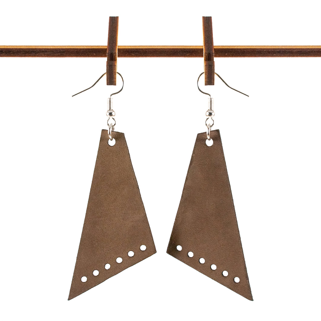 Sleek Angled Six Dark Leather Earrings