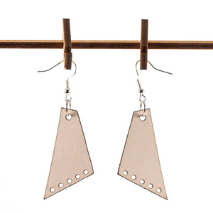 Sleek Angled Five Light Leather Earrings
