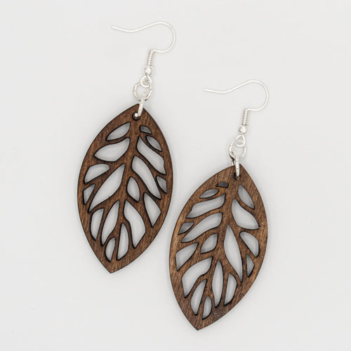 Dark Leaf Cut Wooden Earrings