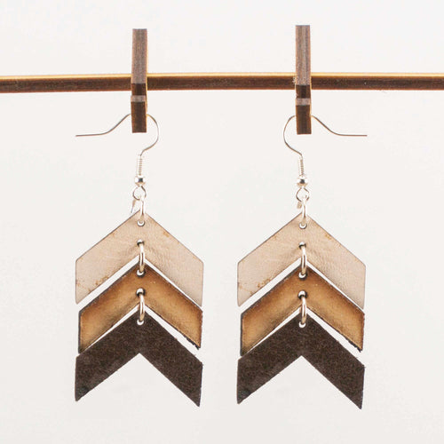 Three-tone Chevron Leather Earrings