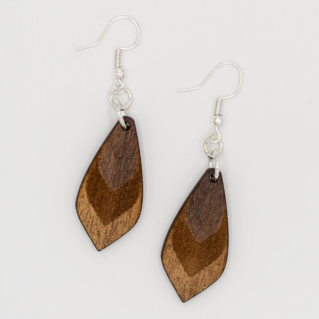Dark Wooden Three-Toned Earrings