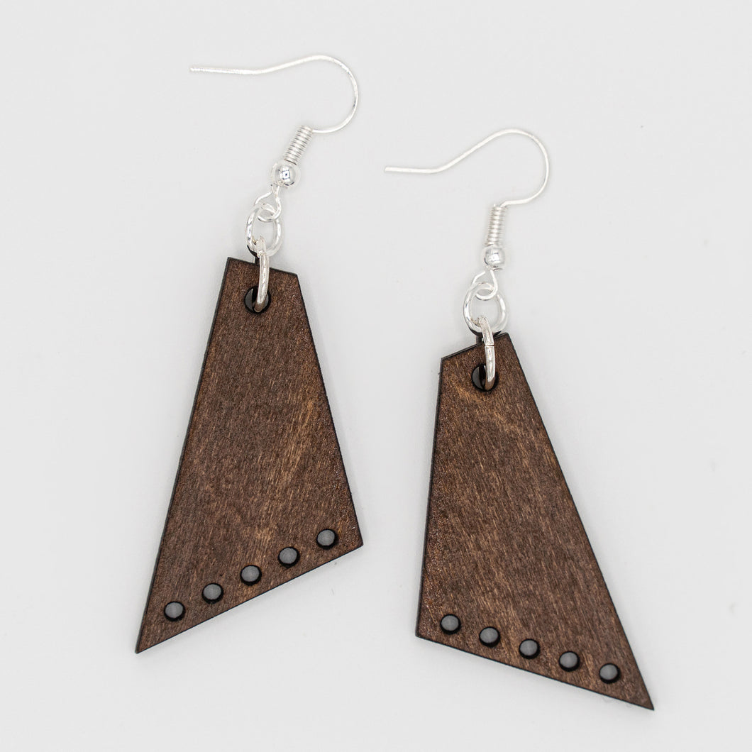 Dark Sleek Angled Five Dark Wooden Earrings