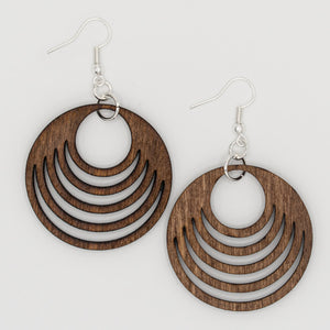 Dark Five Circles Wooden Earrings