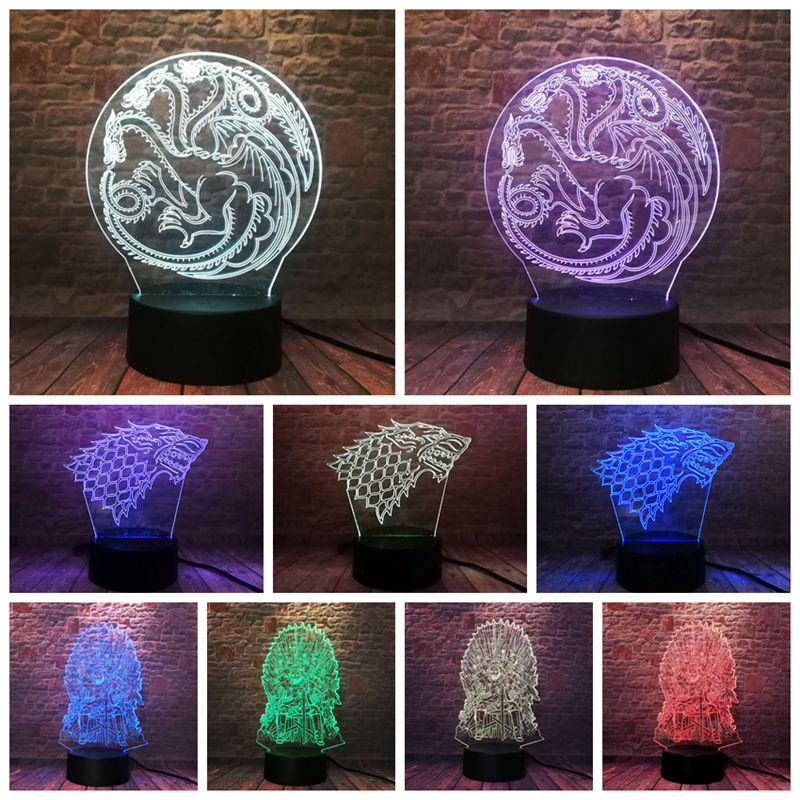 Game Of Thrones 3D LED LAMP (7 colours in one )