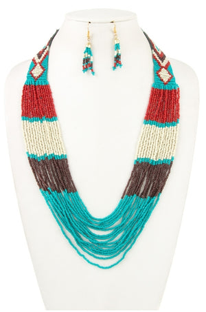 Multi-Colored Seed Bead Necklace Set