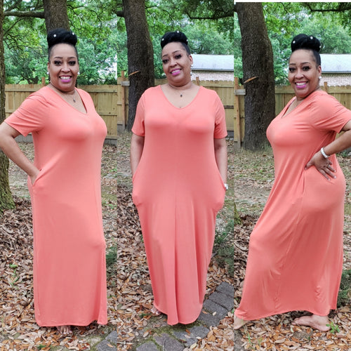 Lillian Plus Size Maxi Dress- Ash Copper