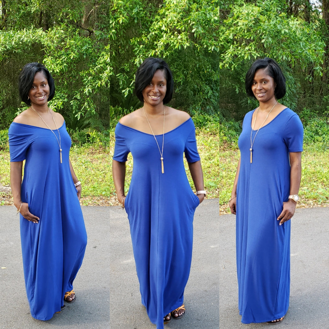 Plus size Lillian Maxi Dress-Denim Blue