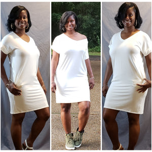 Lala V-Neck Dress- Ivory