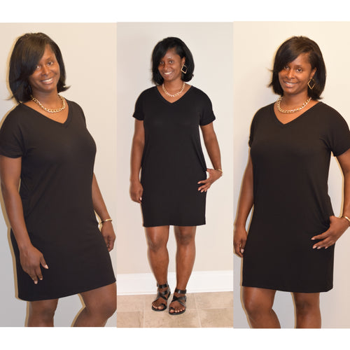 Plus size Lala V-Neck Dress- Black
