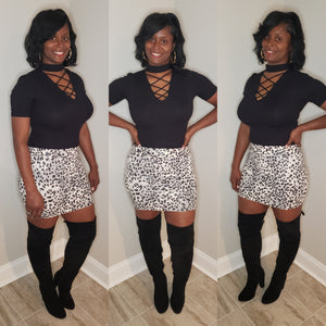 Faux Leather Leopard Mini Skirt