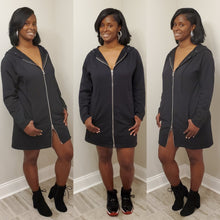 Load image into Gallery viewer, 2 Way Zipper Hoodie Dress