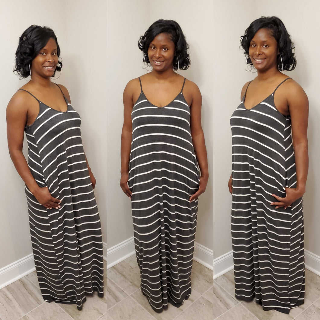 Striped Spaghetti Strap Maxi Dress