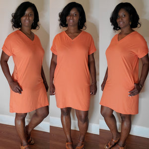 Lala V-Neck Dress- Copper