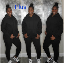 Load image into Gallery viewer, Plus Size Hoodie Jogger Set-Black