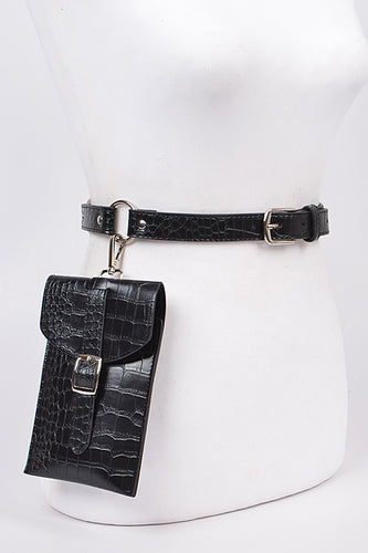 Solid Snake Skin Hooked Belt Bag