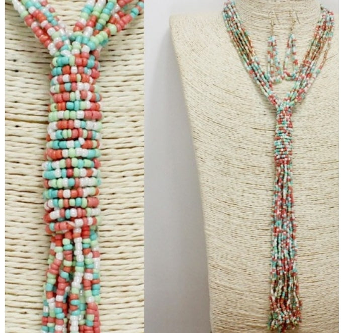 Multicolored Seed Bead Rope Necklace