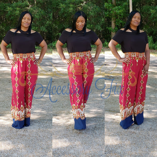Diamonds and Paisley High Waist Pants- Plus Size