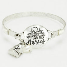 "Load image into Gallery viewer, Engraved Nurses Bangle ""God found the strongest women and made them nurses"