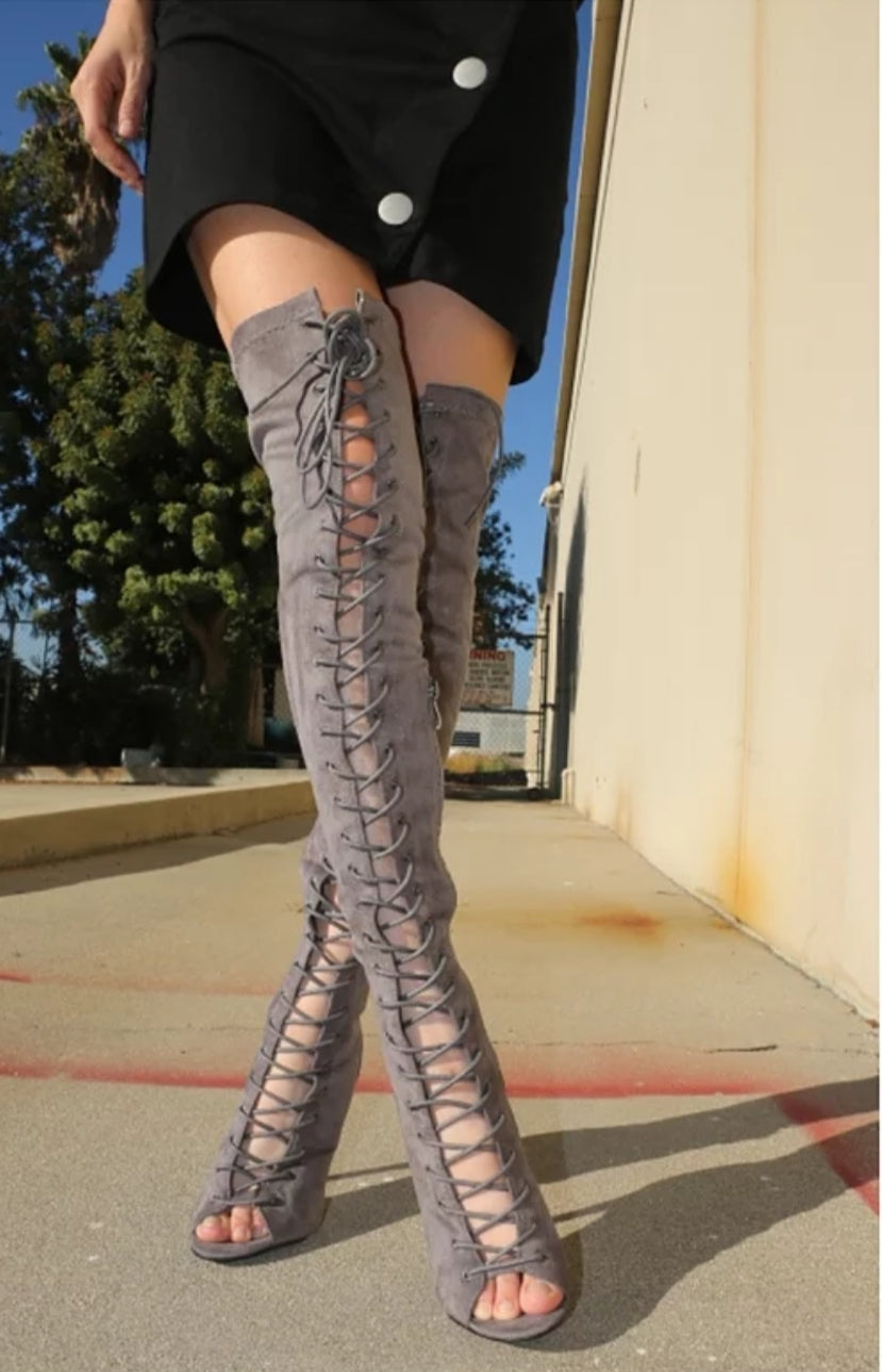 Gray Lace Up Peep Toe Over The Knee Boots