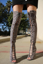 Load image into Gallery viewer, Gray Lace Up Peep Toe Over The Knee Boots