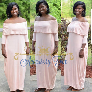 Off The Shoulder Maxi Dress With Pockets-Peach