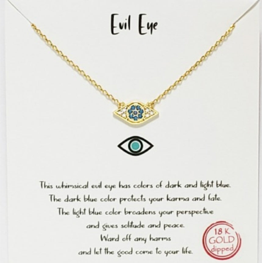 Evil Eye Necklace, 18k gold dipped