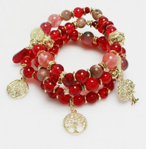 Tree of Life Multi Layered Beaded Stretch Bracelet