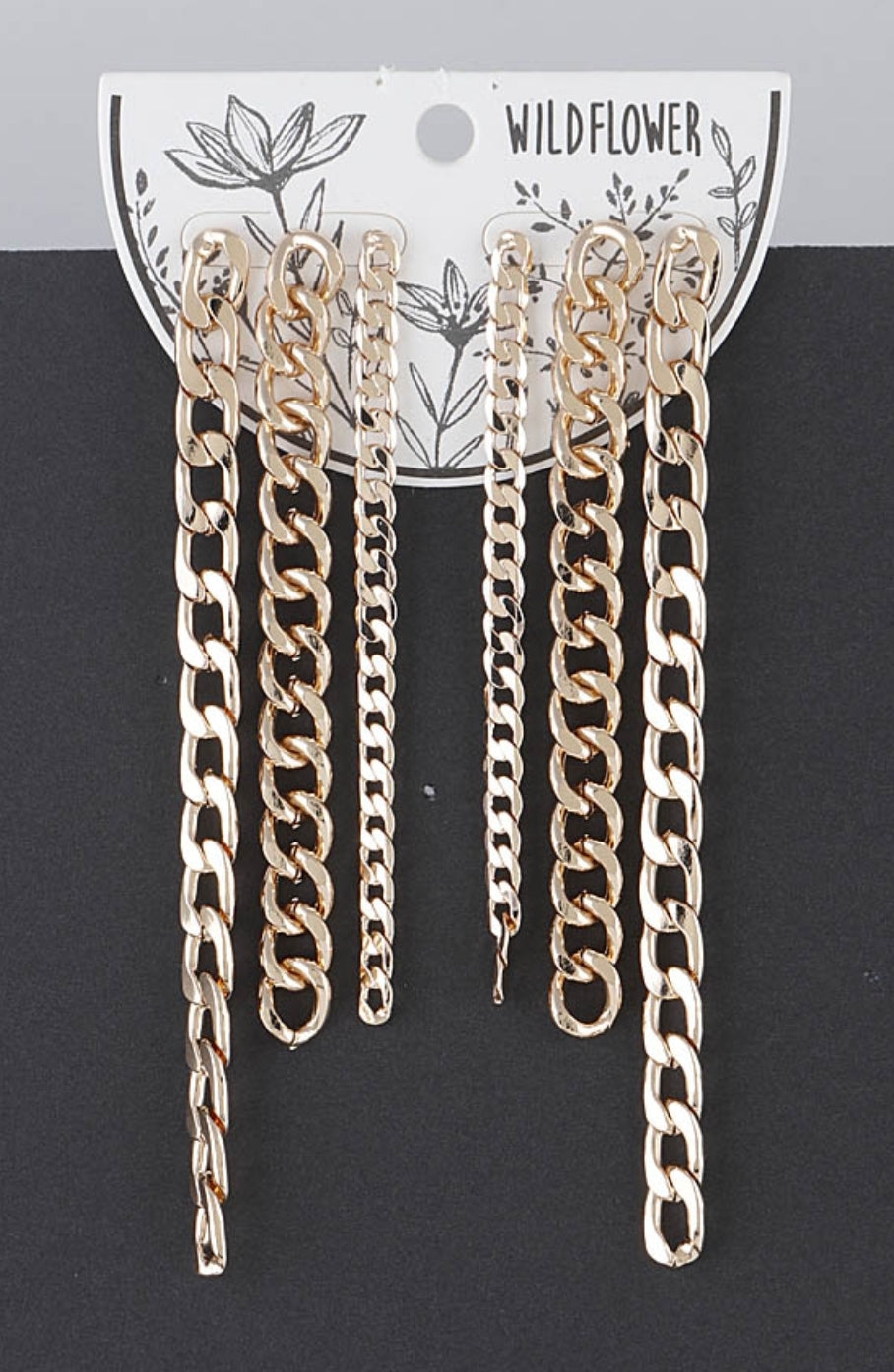 Drop Chain Link Earrings-3 pack