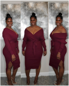 V-Neck Dress-Burgundy