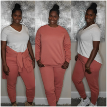 Load image into Gallery viewer, Pullover Jogger Set-Rose