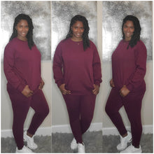 Load image into Gallery viewer, Pullover Jogger Set-Burgundy